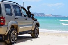Beach Drive (Lisa M / /) Tags: beach drive inskip inskippoint sea sun sand summer water waves rocks rock jeep car 4x4 nikon nikond5100 nikonaustralia nikondslr