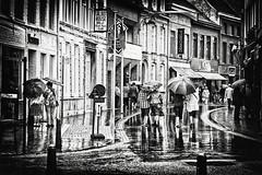 Jour de pluie !!! (Des.Nam) Tags: nb noiretblanc belgique pluie parapluie bw blackwhite monochrome mono pentax k20 desnam street streetphotographie personnes people rue photoderue contraste magasin batiment