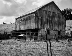 Pennsylvania dairy barn (John Ilko) Tags: 500px monochrome dairy barn pa agriculture fujifilm 27mm primelens architecture grass sky wood structure