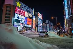 Hokkaido Winter (DougHunt1) Tags: nightphotography leds neonlights traffic snow japan winter hokkaido batis225