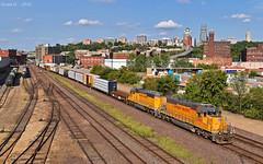 "Westbound Transfer in Kansas City, MO (""Righteous"" Grant G.) Tags: up union pacific railroad railway locomotive train trains west westbound transfer freight kansas city missouri emd power"