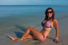 Naples Florida (Howard Metz Photography) Tags: bikini model female asian muscle fitness water beach redwhiteandblue starsandstripes sand ocean sea gulf blue surf tan garmin
