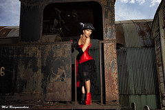 A little Lady on a Big Train..2 (2forArt) Tags: artistic shoot woman model posing outdoors railway train