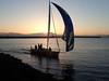 Friday race finish (lenswrangler) Tags: lenswrangler digikam sunset flickrfriday flare yacht yellowfin spinnaker race byc berkeleyyachtclub water bay seawall breakwater sailboat