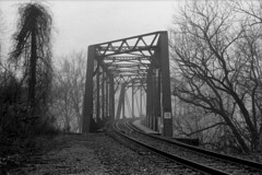 Bridge - 35mm - img658 (T. Brian Hager) Tags: bridge railroad railroadbridge trees analog film bw blackwhite d76 minoltax700 35mm phillipsburgnj ilfordhp5plus400 400 epson epsonv600 scanned