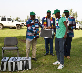 Mini-tube ultrasound device and other field artificial insemination equipment handed over to representatives of regional agricultural research centers in Ethiopia by HE Gebre Egziabher Gebre Yohannes, State Minister, Ministry of Livestock and Fishery