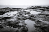 the cottage life (Port View) Tags: fujixe3 cottagecove novascotia ns canada cans2s 2018 winter portgeorge rocks rocky beach tide tidal fog drizzle reflection morning pool wet water fundyshore bayoffundy blackandwhite bw monochrome mono longexposure le fundy rockr landscape seascape rock bay sky basalt