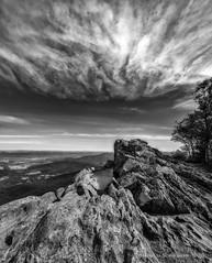 Little Stony Man Summit - Shenandoah National Park, VA (HarrySchue) Tags: hiking landscape littlestoneyman mountains nationalparks nature shenandoahnationalpark hike clouds dramaticsky blackwhite monchrome appalachiantrail rocks nikon d800e reallyrightstuff bwfilters sigmalens