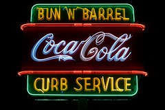 Bun 'N' Barrel (dangr.dave) Tags: sanantonio tx texas downtown historic architecture neon neonsign bexarcounty cocacola bunnbarrel bunandbarrel curbservice