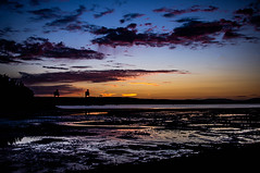 Sunset To Blue (Brian Travelling) Tags: pentaxkr scotland ayrshire sunset bluehour reflection tide clouds silhouette sunsetsandsilhouettes pentax firthofclyde hunterston fairlie
