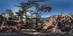 [please enjoy in 440megapixel] Sunny afternoon at Harold's Point in Killbear Provincial Park (interactive 360degree pano) (auggie w) Tags: canada sphere vr virtualreality provincialpark killbear parrysound georgianbay north ontario panorama panorama360 rock tree cliff greatlakes