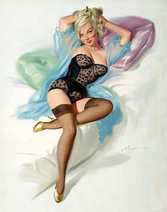Pinup by Donald Rust (gameraboy) Tags: donaldrust pinup pinupart illustration art vintage woman sexy lingerie stockings thighhighs nylons