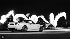Mazda MX5 NC Eindhoven 2018-08-10 (8 of 9) (king13thnl) Tags: rood mazda mx5 nc prht crystal white pearl rota titan bilstein carbon miata roadster black wheels evening night automotive lightpainting