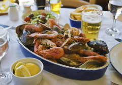 Preston's at the River Course (andrewfoxx15) Tags: abundance beer clam colorimage dining diningout feast foodanddrink fresh glassware highangleview horizontal indoors lunch malta marsaxlokkbay meal mixed nobody photography plate restaurant seafood shellfish shrimp stilllife table travel