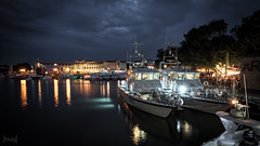 HMS Smiter and HMS Ranger, Bristol, UK (KSAG Photography) Tags: ships warship boats harbour reflection water night nightphotography royalnavy city urban longexposure hdr bristol uk unitedkingdom england britain europe nikon july 2018 wideangle
