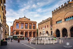 Cavour Square in Rimini, Italy (PeterFineart) Tags: cavour rimini square city citycenter people landscape architecture buildings theathre old roman shops europe explore sky clouds vacation wander italy building road