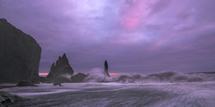 Legends of Odin (Maddog Murph) Tags: vik sea stack reynisdrangar south island iceland travel waves sunset seascape fine art fierrce force fierce odin fury surf mist pink blue long expo exposure basalt black sand beach ocean pacific europe