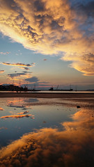 After the summer rain (jimiliop) Tags: clouds sky reflections summerrain port ship beautifulcolours corinth