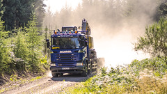 Colin (prajpix) Tags: truck lorry transport machinery load dust sand backlit camion rigid 8wheeler 4axle highlands scotland track road trees woods woodland plantation