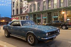 Camaro Night Lights (DJ Wolfman) Tags: camaro v8 hot hotrods classic chevrolet chevy blue summer sidepipes baycity michiganfavorites michigan 1968