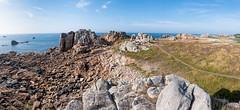 Cliffs of Plougrescant (Gijs Peijs) Tags: france landscape blossom wide rotsen bloei bretagne lowtide panorama rocks bluesky plougrescant eb rock ocean oceaan kliffen landschap frankrijk cliffs klif meadow heather heide cliff legouffre