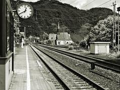 Watch, tracks and a church (diarnst) Tags: bw sw schienen bahnhof tracks railwaystation kirche church