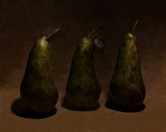 A Pair of Pears & A Spare Pear (1selecta) Tags: pear pears food fruit edible scored aged old worn stalk wooden conference conferencepear