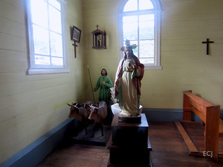 San Isidro y el Sagrado Corazón de Jesús, estatuaria en la destruida iglesia de Copey de Dota/ Statuary inside the later destroyed church of Copey, Dota church