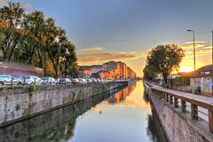 Naviglio Milano (Dario654321) Tags: milan milano italia italy city landscape sunset river naviglio travel colors sun