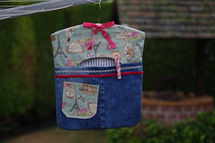 New peg bag (Blue Sky Pix) Tags: handmade pegbag mygarden derbyshire ilovetostitch handsewn alwaysbusy making crafty frenchstyle fabric stitches arty vintagesewing pentax buttons denim oldjeans