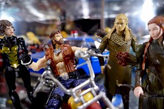 He said what?? (MayorPaprika) Tags: panasoniclumixdmcfz1000 118 custom diorama toy story paprihaven action figure set gijoe agreatamericanhero monkeywrench lotr lordoftherings thehobbit legolas tauriel elf marvel comics wasp ertl maisto diecast car