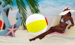 Life's A Beach (♥~ Mahogany ~♥) Tags: secondlife fashion shadowboxes stonesworks beach balls anchor starfish floppyhat cowrieshells maxigossamer rownesalon maitreya