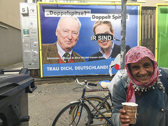 Roma and Neo-Fascists. 2017 elections, Berlin. (joelschalit) Tags: berlin germany deutschland roma gypsy refugees migrants multiculturalism diversity poverty europeanunion eu europe streetphotography streetart neukölln beggar begging racism discrimination