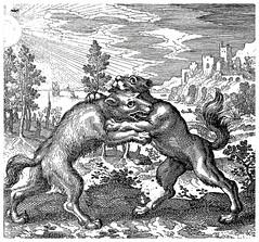 Le loup d'Orient et le chien d'Occident se sont mutuellement mordus (Ωméga *) Tags: alchimie alchemy gravure engraving livre book alquimia alchimia ω atalantafugiens loup chien orient occident