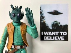 """Flying Saucers? Forget About it!"" (Sasha's Lab) Tags: greedo rodian flying saucer space travel hyperdrive star wars alien xfiles poster iwanttobelieve"