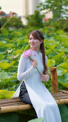 Beauty (khoitran1957) Tags: people pond portrait woman girl lotus flower vietnam