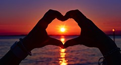 Summer romance (Christie : Colour & Light Collection) Tags: hands heart sundown framed love romance summer light inlove happy calm peace evening horizon brilliance colour color eventide night dslr nikon
