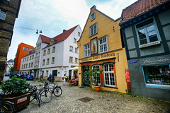 Old town in Bremen, Germany (` Toshio ') Tags: toshio bremen germany german schnoor oldtown shop store historic europe european europeanunion street bicycle fujixt2 xt2 cafe restaurant people
