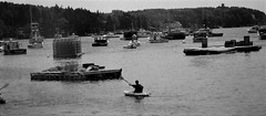 Heading Too Work (Shot by Newman) Tags: lobsterman ilforddelta400 atlanticocean blackwhite northernmaine atlanticcoast bwfilm 35mm lobsterboats traps ilfordbwfilm bwphotograph 35mmminolta shotbynewman