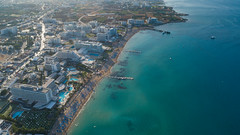 Aerial of Sunrise beach Protaras Cyprus