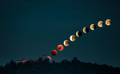 Moon Phases 2018 (nicolamariamietta) Tags: moon eclipse phase phases 2018 hills sky skyscape landscape moonscape castle medieval pozzolgroppo oltrepò oltrepopavese trees building colors sonya7 mirrorless 200mm canon fd canonfd italy lombardia tripod astrophotography full fullmoon