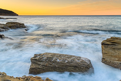 Rocky Sunrise Seascape (Merrillie) Tags: daybreak sunrise puttybeach nature australia water centralcoast newsouthwales rocks earlymorning nsw morning sea ocean outdoors bouddinationalpark landscape coastal rocky sky seascape waterscape coast dawn waves