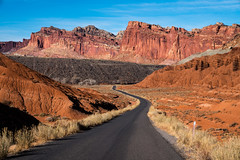 The Scenic Drive (Kurt Lawson) Tags: capital capitol cliff copyrighted drive fold national park pocket reef road rock sandstone scenic utah water waterpocket