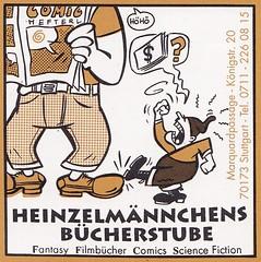 Strapazin / Aufkleber (micky the pixel) Tags: werbung anzeige inserat advertisement aufkleber sticker strapazin magazin grafik kunst art comicart zwerg dwarf comicshop comicladen heinzelmännchensbücherstube stuttgart