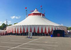 New circus exhibit! (mrgraphic2) Tags: indianapolis indianastatefair 2018 indiana circus tent flags white roof fair canvas