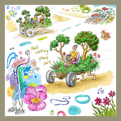 Half-Walking Plant Cars (jasoux) Tags: art artwork drawing sketch surreal surrealism introspection introspective painting watercolor watercolour illustration freeassociation forest foliage wilderness dream
