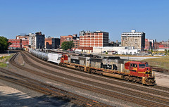 "Northbound Transfer in Kansas City, MO (""Righteous"" Grant G.) Tags: up union pacific railroad railway locomotive train trains north northbound transfer freight emd progress rail atsf santa fe engine kcs kansas city southern missouri"