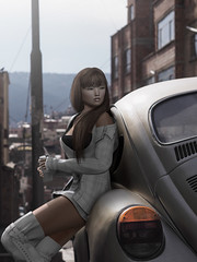 Summer in the City (Natsumi Xenga) Tags: catwa hanako session ling stealthic bangs avela ed queen anarchy gos monza belted boots valekoer lattemya tumbler cute kawaii japan japanese car beetle vw city summer light