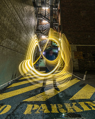 No Parking (stephenk1977) Tags: australia queensland qld brisbane nikon d3300 light painting art cbd lane alley way noparking lightflute yellow fireescape stairway
