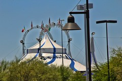 Tent (David K. Edwards) Tags: tent lamp signage tucson flag